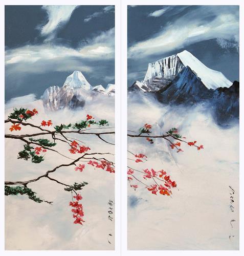 Valeriy Grachov, Himalaya. Bildschirm von 2 Teilen., Landschaft: Berge, Pflanzen: Blumen, Gegenwartskunst