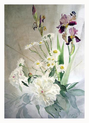 Valeriy Grachov, Peonies and Irises, Pflanzen: Blumen, Natur: Diverse, Romantik, Neuzeit