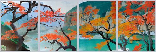 Valeriy Grachov, Herbst in Japan (Autumn in Japan), Landschaft: Berge, Natur: Gestein, Realismus, Neuzeit