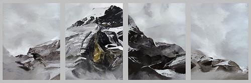 Valeriy Grachov, Black and Grey. Schirmwand, 4 Teile., Landschaft: Berge, Natur: Gestein, Gegenwartskunst, Abstrakter Expressionismus