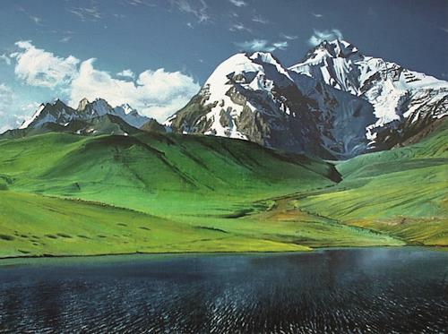 Valeriy Grachov, Djirgital Berge, Landschaft: Berge, Diverse Landschaften, Gegenwartskunst, Expressionismus