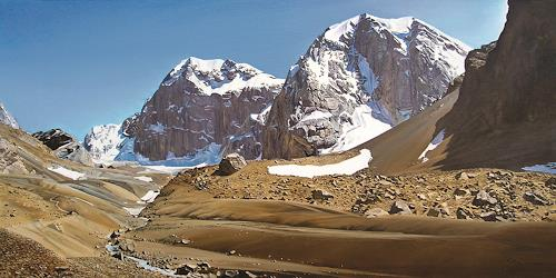 Valeriy Grachov, Die Schlucht des Flusses Sindon (Zindon River Canyon), Landschaft: Berge, Diverses, Realismus, Expressionismus
