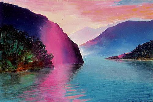 Valeriy Grachov, Meer von Japan (Japanese Sea), Landschaft: Berge, Landschaft: See/Meer, Gegenwartskunst, Expressionismus