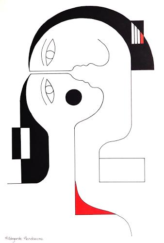 Hildegarde Handsaeme, Rouge-Coeur, Menschen: Paare, Abstraktes, Konstruktivismus, Abstrakter Expressionismus