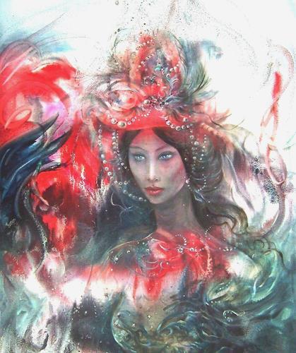 Natalia Rudsina, Die Dame im roten Hut, Karneval, Menschen: Frau, Expressionismus