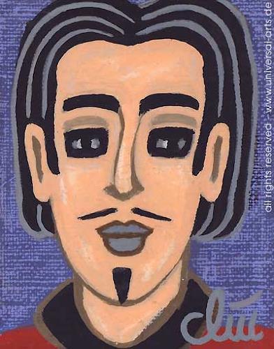 universal arts Jacqueline Ditt & Mario Strack, Vincent von Jacqueline Ditt Miniatur Gemälde, Menschen: Gesichter, Menschen: Porträt, Expressionismus