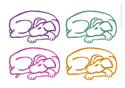 universal arts Jacqueline Ditt & Mario Strack, Varicoloured Dogs  von Jacqueline Ditt, Tiere: Land, Diverse Tiere, Pop-Art
