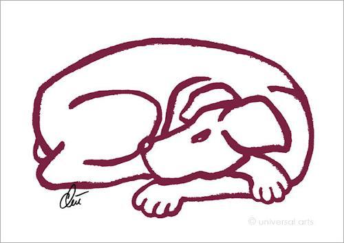 universal arts Jacqueline Ditt & Mario Strack, Dog - Red (Hund - Rot) A2 von Jacqueline Ditt, Tiere: Land, Diverse Tiere, Pop-Art