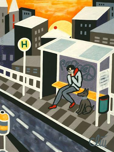 universal arts Jacqueline Ditt & Mario Strack, Bus Stop by Jacqueline Ditt, Menschen: Mann, Tiere: Land, Pop-Art