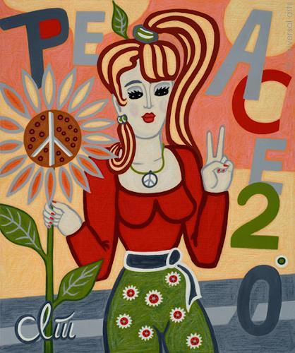 universal arts Jacqueline Ditt & Mario Strack, Road to Peace Two Point Zero, Menschen: Frau, Diverse Menschen, Op-Art