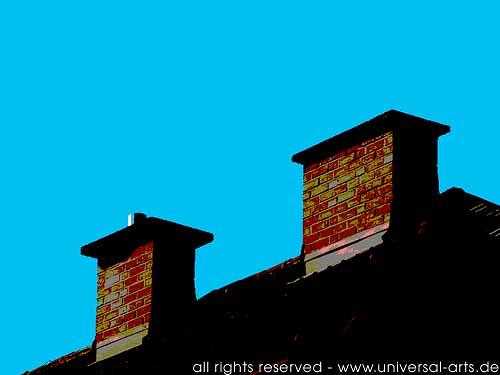 universal arts Jacqueline Ditt & Mario Strack, The Roof is on Top 1 von Mario Strack, Architektur, Bauten: Haus, Minimal Art