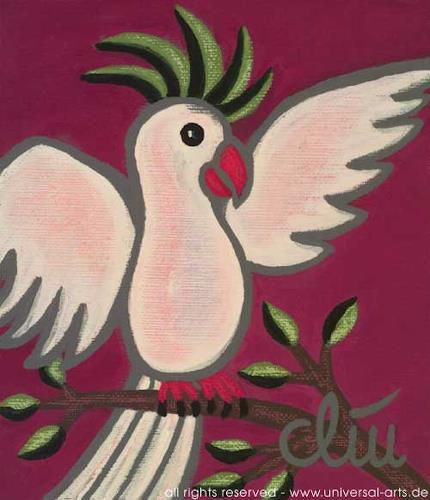 universal arts Jacqueline Ditt & Mario Strack, Der geschwätzige Kakadu von Jacqueline Ditt, Tiere: Luft, Diverse Tiere, Expressionismus