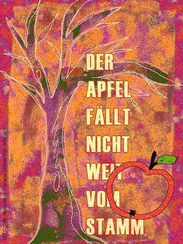 universal arts Jacqueline Ditt & Mario Strack, Der Apfel fällt nicht weit vom Stamm von Jacqueline Ditt, Pflanzen: Bäume, Zeiten: Herbst, Expressionismus