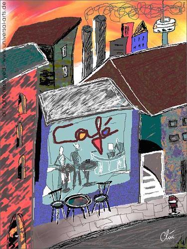 universal arts Jacqueline Ditt & Mario Strack, Cafè Westend von Jacqueline Ditt, Architektur, Situationen, Expressionismus