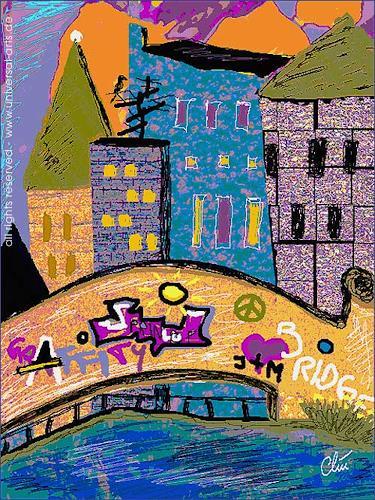 universal arts Jacqueline Ditt & Mario Strack, Graffity Brücke von Jacqueline Ditt, Architektur, Diverse Bauten, Expressionismus