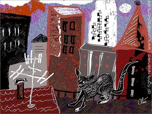 universal arts Jacqueline Ditt & Mario Strack, Katze auf dem Dach von Jacqueline Ditt, Tiere: Land, Diverse Bauten, Expressionismus