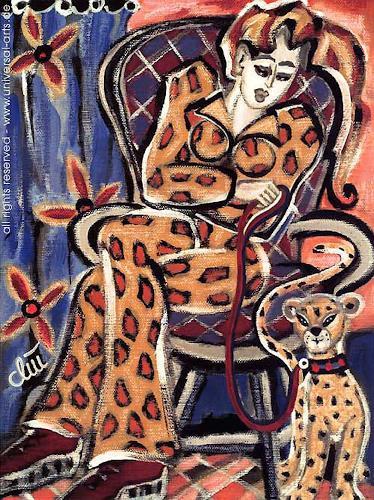 universal arts Jacqueline Ditt & Mario Strack, Die Etagenleopardin von Jacqueline Ditt, Tiere: Land, Menschen: Frau, Expressionismus