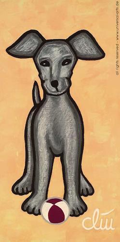 universal arts Jacqueline Ditt & Mario Strack, Hund auf gelbem Grund von Jacqueline Ditt, Tiere: Land, Diverse Tiere, Expressionismus