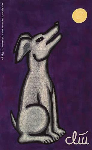 universal arts Jacqueline Ditt & Mario Strack, Hund auf lila Grund von Jacqueline Ditt, Tiere: Land, Diverse Tiere, Expressionismus