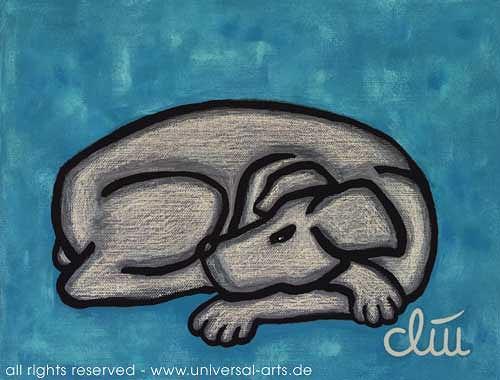 universal arts Jacqueline Ditt & Mario Strack, Hund auf blauem Grund von Jacqueline Ditt, Tiere: Land, Diverse Tiere, Expressionismus