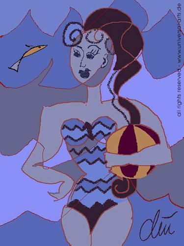 universal arts Jacqueline Ditt & Mario Strack, Wellenbad von Jacqueline Ditt, Menschen: Frau, Diverse Menschen, Expressionismus