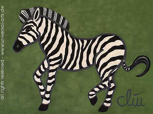 universal arts Jacqueline Ditt & Mario Strack, Das wilde Zebra von Jacqueline Ditt, Tiere: Land, Diverse Tiere, Expressionismus