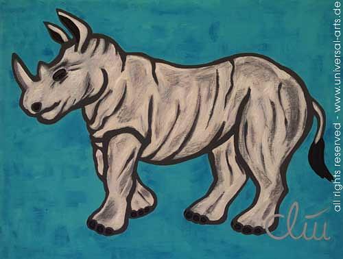 universal arts Jacqueline Ditt & Mario Strack, Das starke Nashorn von Jacqueline Ditt, Tiere: Land, Diverse Tiere, Expressionismus