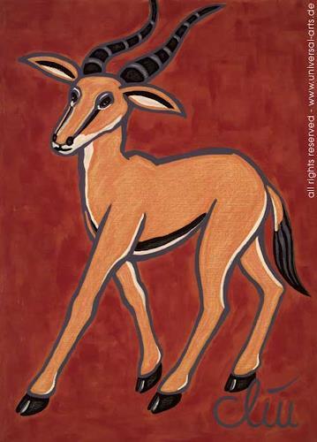 universal arts Jacqueline Ditt & Mario Strack, Die flinke Gazelle von Jacqueline Ditt, Tiere: Land, Diverse Tiere, Expressionismus