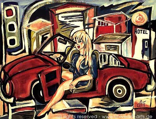 universal arts Jacqueline Ditt & Mario Strack, Barbie's New Car von Jacqueline Ditt, Diverse Erotik, Menschen: Frau, Expressionismus