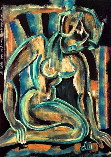 universal arts Jacqueline Ditt & Mario Strack, Die Frau in Blau von Jacqueline Ditt, Akt/Erotik: Akt Frau, Diverse Erotik, Expressionismus
