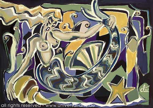 universal arts Jacqueline Ditt & Mario Strack, Fisherman's Girlfriend von Jacqueline Ditt, Mythologie, Akt/Erotik: Akt Frau, Expressionismus