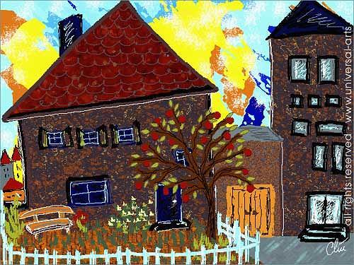 universal arts Jacqueline Ditt & Mario Strack, Stadthaus mit Garten von Jacqueline Ditt, Architektur, Bauten: Haus, Expressionismus