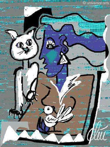 universal arts Jacqueline Ditt & Mario Strack, Weisse Katze von Jacqueline Ditt, Tiere: Land, Diverse Tiere, Expressionismus