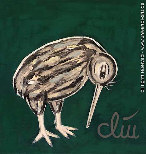 universal arts Jacqueline Ditt & Mario Strack, Der bizarre Kiiwi von Jacqueline Ditt, Tiere: Land, Diverse Tiere, Expressionismus
