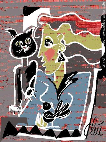 universal arts Jacqueline Ditt & Mario Strack, Schwarzer Kater von Jacqueline Ditt, Tiere: Land, Menschen: Frau, Expressionismus