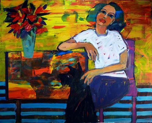 Bart Fraczek, with black dog, Menschen: Frau, Tiere: Land, Neo-Expressionismus, Expressionismus