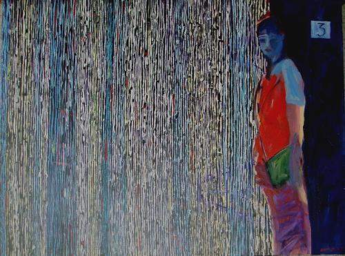 Bart Fraczek, in the rain, Natur: Wasser, Menschen: Frau, Neo-Expressionismus, Expressionismus