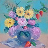 Mascha-Dueben-Diverse-Pflanzen-Pflanzen-Blumen-Gegenwartskunst--Gegenwartskunst-