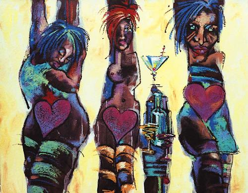 Mascha Düben, Karneval der Figuren 3, Karneval, Gegenwartskunst, Abstrakter Expressionismus