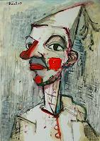Lubomir-Tkacik-Zirkus-Clown-Gefuehle-Depression-Gegenwartskunst--Neo-Expressionismus