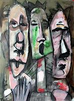 Lubomir-Tkacik-Zirkus-Clown-Menschen-Gesichter-Gegenwartskunst--Neo-Expressionismus