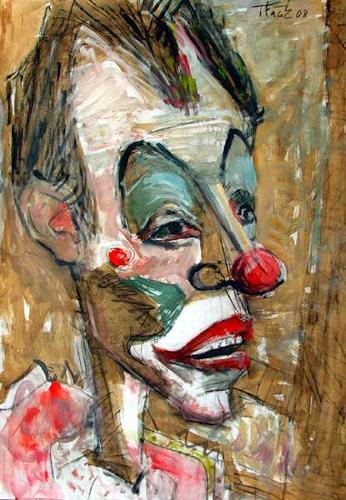 Lubomir Tkacik, Old clown, Zirkus: Clown, Menschen: Porträt, Neo-Expressionismus, Expressionismus