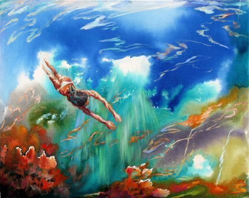 Ligo, The Swimmer, Natur: Wasser, Menschen: Frau