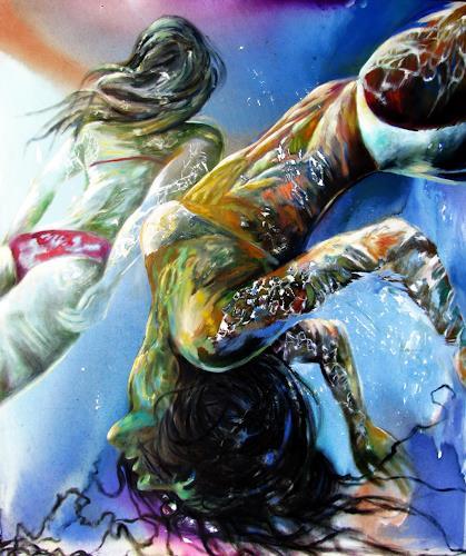 Ligo, Two swimmers, Menschen: Frau, Neue Figurative Malerei, Expressionismus