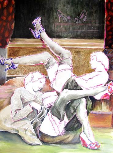 Ligo, Repose, Freizeit, Menschen: Frau, expressiver Realismus, Abstrakter Expressionismus