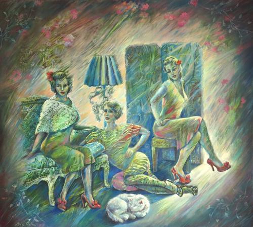 Ligo, Three sisters, Menschen: Frau, Gefühle: Freude, Neue Figurative Malerei