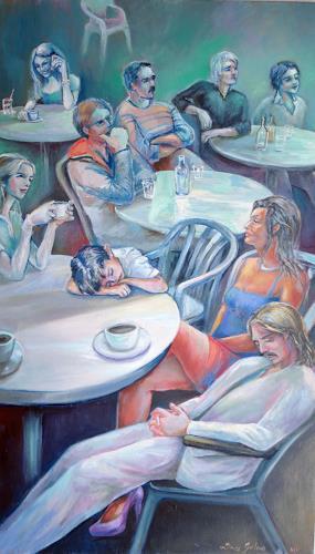 Ligo, Watching TV, Gesellschaft, Symbol, Neue Figurative Malerei, Abstrakter Expressionismus