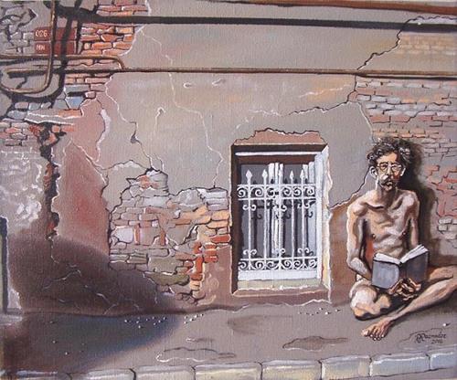 Ramaz Razmadze, The Naked Truth, Menschen: Mann, Bauten: Haus, Realismus, Expressionismus