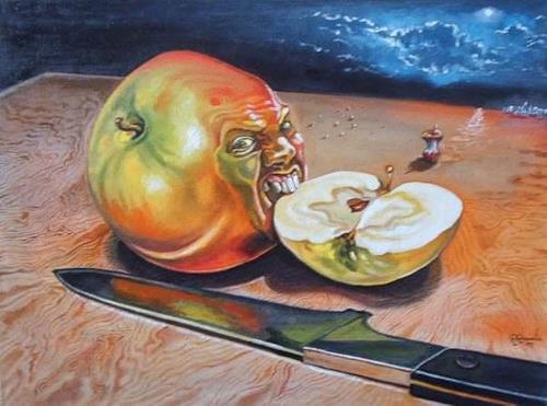 Ramaz Razmadze, Apple of Discord, Fantasie, Stilleben, Postsurrealismus, Abstrakter Expressionismus