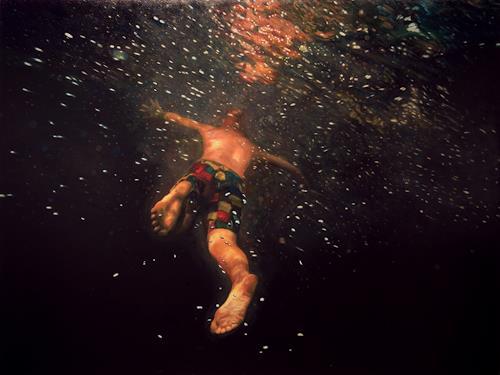 Jennifer Walton, Underwater Galaxy, Natur: Wasser, Menschen, Gegenwartskunst, Abstrakter Expressionismus